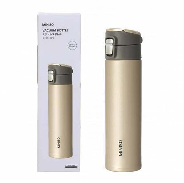 - Flip Top Vakum Kapaklı Metal Termos 390 mL (Gold)